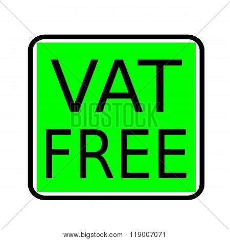Vat Free Black Stamp Text On Green Background