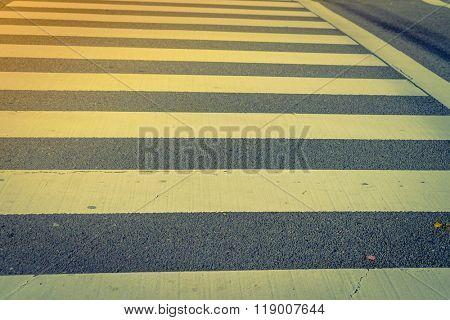 Zebra crossing road ( Filtered image processed vintage effect. )