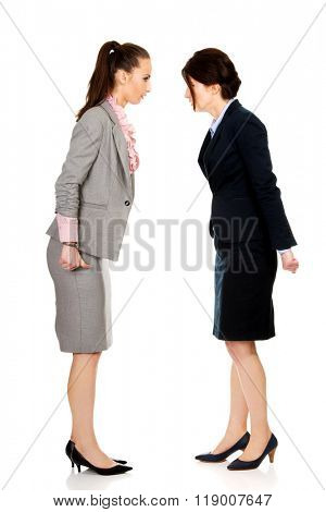 Two angry businesswomans face to face.