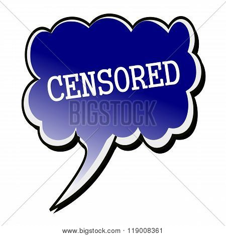 Censored White Stamp Text On Blueblack Speech Bubble