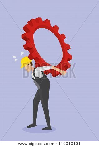 Worker Carrying Cogwheel Gear