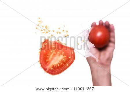Hand Is Throwing Tomato