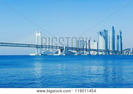 Gwangan bridge and Haeundae in Busan, Korea.