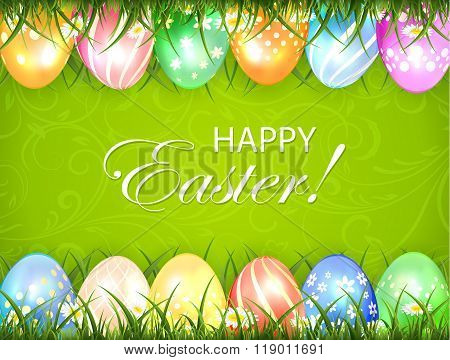 Green Easter Background With Eggs In Grass