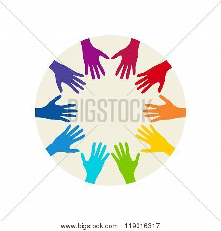 People Colorful Hands United Together. Illustration Of Teamwork