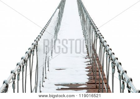 Suspension Bridge Of Iron Chain And Woods In Winter On White Background.