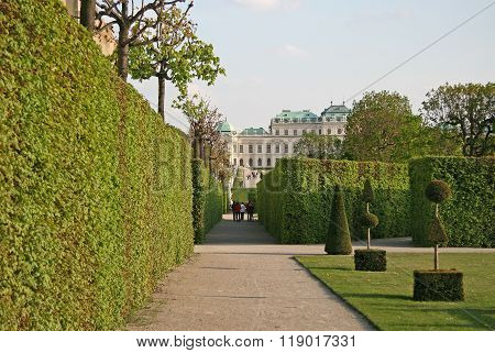 Vienna, Austria - April 22, 2010: Belvedere Palace And The Palace Garden In Vienna, Austria