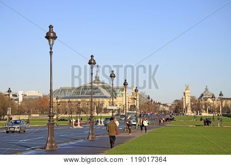 Paris, France -18 December 2011: View At Grand Palais Des Champs-elysees And Pont Alexandre Lll In P
