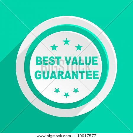 best value guarantee flat design modern web icon with shadow for internet and app