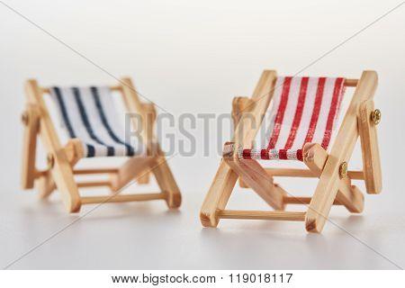 Miniature Figurine Deckchairs