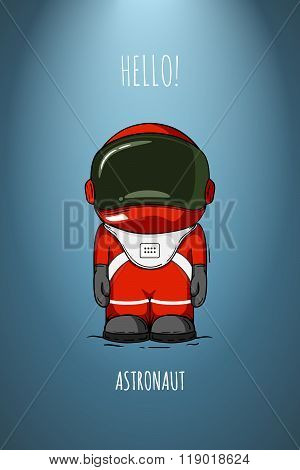Hand Drawn Cartoon Astronaut In Space Suit. One Died. Line Art Cosmic Vector Illustration Cosmonaut