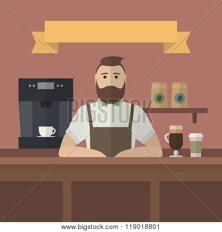Hipster barista serving coffee in cafe