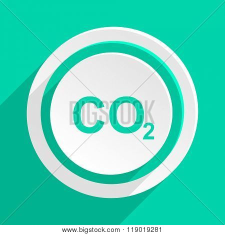 carbon dioxide flat design modern web icon with shadow for internet and app