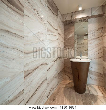 Interior,  marble bathroom with sink modern design