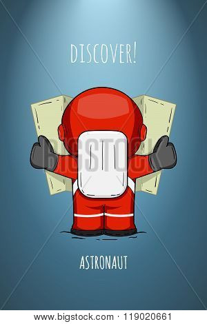 Hand Drawn Cartoon Astronaut In Spacesuit Back View. Line Art Cosmic Vector Illustration Cosmonaut L