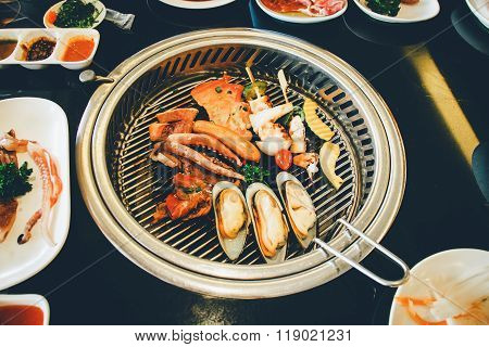 Food On Korean Bbq Grill, Meat And Vegetable