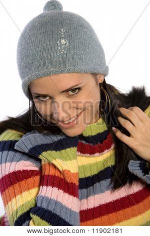 Beautiful woman wearing winter seosonal outfits