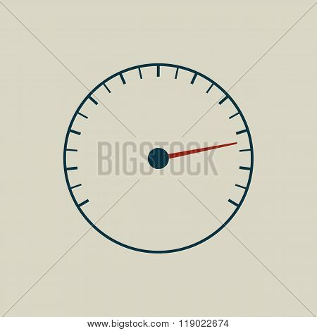 Speedometer or tachometer symbol with arrow.