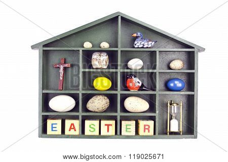 Shelf With Beautiful Easter Objects Isolated On White
