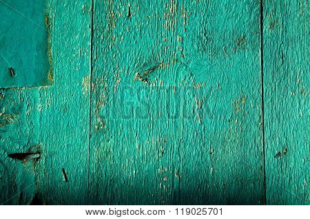 Background Of Green Painted Old Wooden Planks