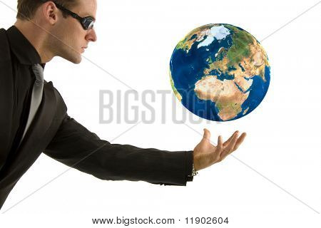 Businessman protecting his global vision