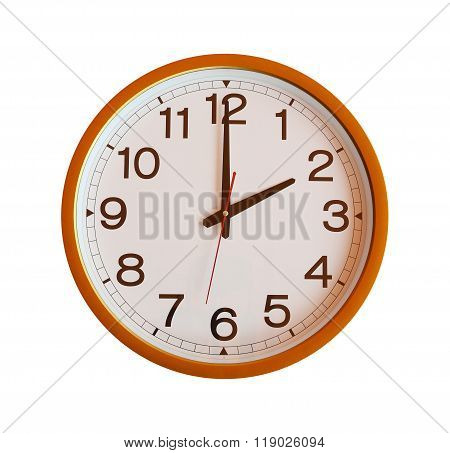 Orange Wall Clock Isolated In Two O'clock.
