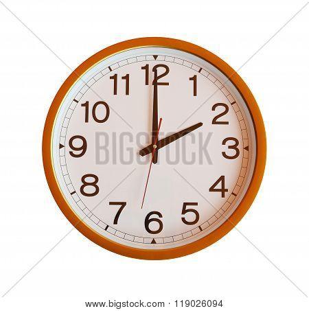 Orange Wall Clock Isolated In Two O'clock.
