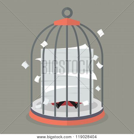 Businessman under a lot of documents in bird cage