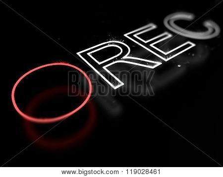Record neon sign isolated on black background