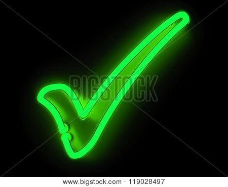 Neon check icon isolated on black background