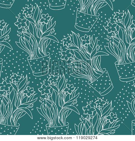 Wallpaper Seamless Pattern With Narcissus
