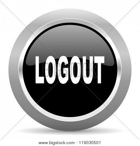 logout black metallic chrome web circle glossy icon