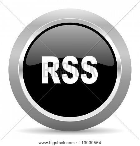 rss black metallic chrome web circle glossy icon