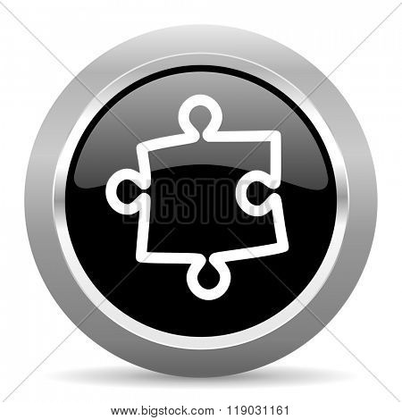 puzzle black metallic chrome web circle glossy icon