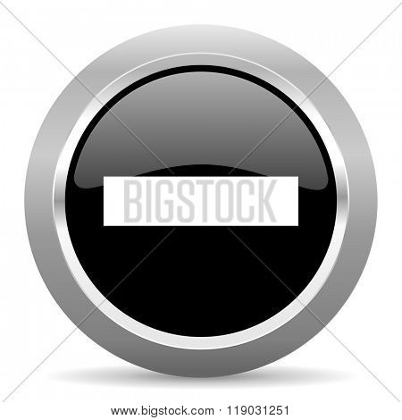 minus black metallic chrome web circle glossy icon