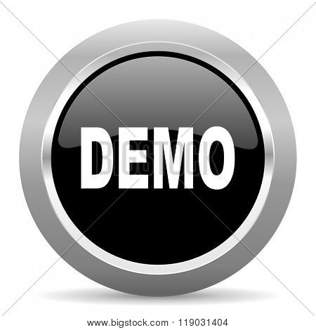 demo black metallic chrome web circle glossy icon