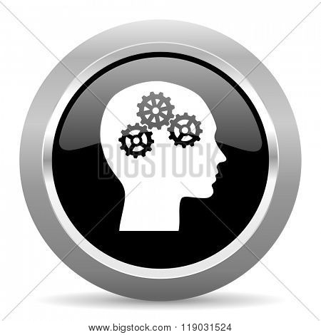 head black metallic chrome web circle glossy icon