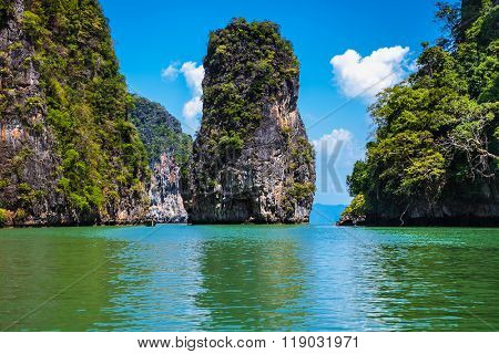 Koh Panak geological formation island in Phang Nga bay. Tailand.