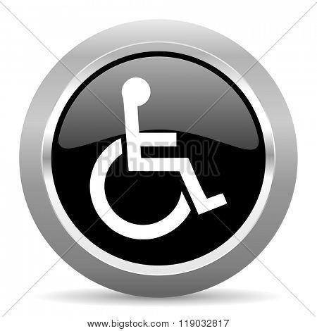 wheelchair black metallic chrome web circle glossy icon
