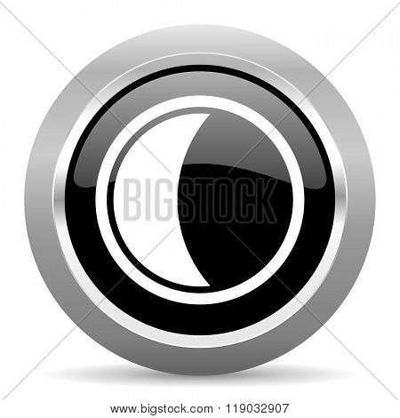 moon black metallic chrome web circle glossy icon