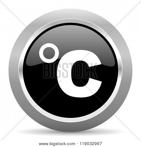celsius black metallic chrome web circle glossy icon