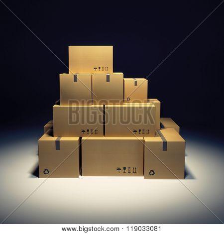 pile of cardboard box and empty billboard