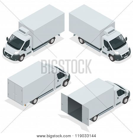 Set of icons truck for transportation cargo. Van for the carriage of cargo. Delivery car. Vector iso