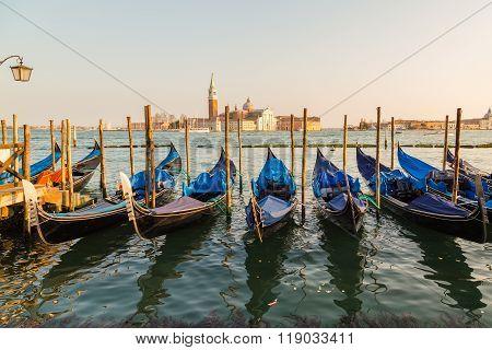 Church Of San Giorgio Maggiore And Gondolas