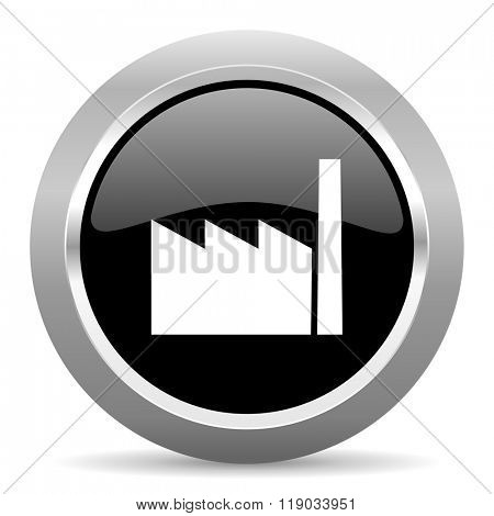 factory black metallic chrome web circle glossy icon
