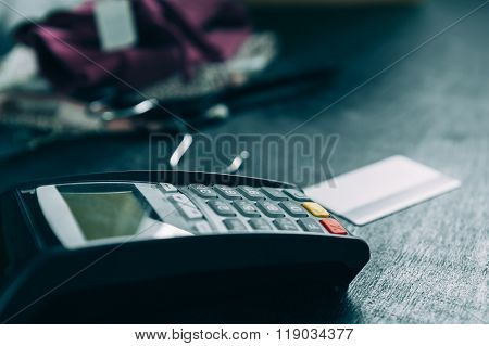 Credit card terminal in store