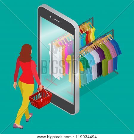 Online shopping and consumerism concept. Mobile grocery shopping e-commerce online store flat 3d web