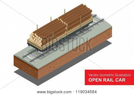 Open rail car for transportation of bulk cargoes. Rail covered wagon. Vector isometric illustration