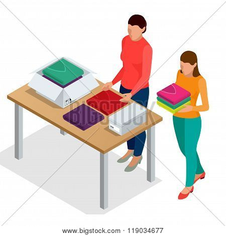 Flat 3d isometric vector illustration. Workers Checking Goods On Belt In Distribution Warehouse. Wor