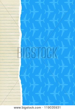 Lined Paper And Aircraft Background